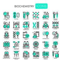 Elementi di biochimica, linea sottile e icone perfette Pixel