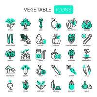 Set di linea sottile vegetale e icone perfette pixel per qualsiasi progetto web e app.