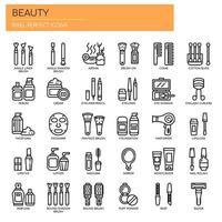 Icone perfette di bellezza, linea sottile e pixel vettore