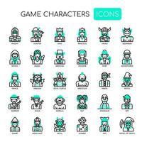 Personaggi di gioco, linea sottile e icone pixel perfette