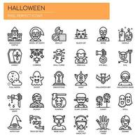 Elementi di Halloween, linea sottile e icone perfette Pixel vettore