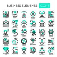 Icone perfette di elementi aziendali, linea sottile e pixel