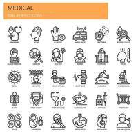 Elementi medici, linea sottile e icone perfette Pixel vettore