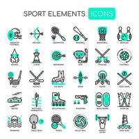Sport Elements Linea sottile e Pixel Icone perfette vettore