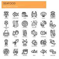Frutti di mare, linea sottile e Pixel icone perfette