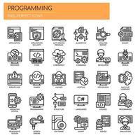 Icone di programmazione, linea sottile e pixel perfetti vettore