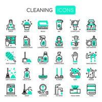 Icone di pulizia, linea sottile e pixel perfetti vettore
