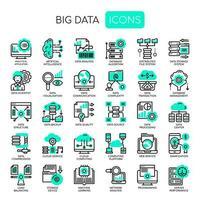 Icone perfette per big data, linee sottili e pixel vettore