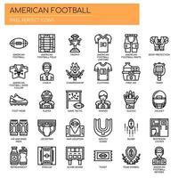 Football americano, linea sottile e pixel perfetti icone