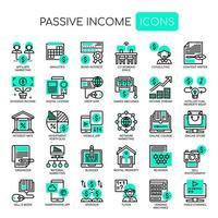 Reddito passivo, linea sottile e pixel perfetti icone