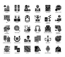 Elementi di gioco, icone glifo vettore