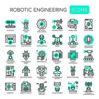 Ingegneria robotizzata, linea sottile e icone pixel perfette vettore