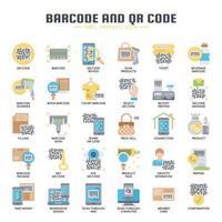 Icone di codici a barre e QR, linee sottili e pixel perfetti vettore