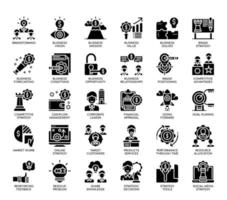 Icone di strategia aziendale, linea sottile e pixel perfetti vettore