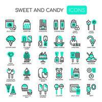 Icone dolci e caramelle, linea sottile e pixel perfetti vettore
