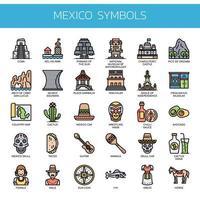 Icone Mexico Elements, linea sottile e Pixel Perfect vettore