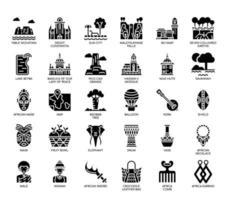 Africa Elements, linea sottile e Pixel icone perfette vettore