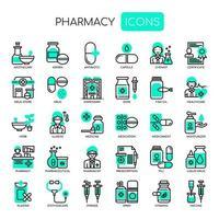 Elementi di farmacia, linea sottile e icone perfette Pixel vettore