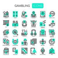 Elementi di gioco d'azzardo, linea sottile e icone perfette Pixel vettore