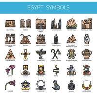 Egitto simboli, linea sottile e pixel icone perfette vettore
