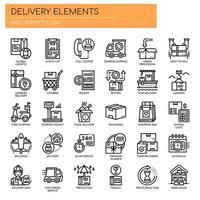 Elementi di consegna, linea sottile e icone perfette Pixel vettore
