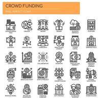 Icone di crowdfunding, linea sottile e pixel perfetti