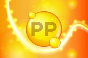 Capsula pillola oro lucido con vitamina PP vettore