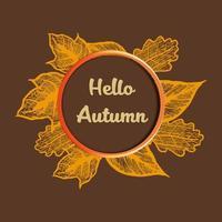 Ciao autunno con banner di foglie abbozzato vettore