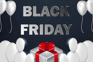 Banner di vendita di Black Friday palloncini bianchi vettore