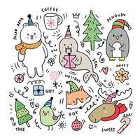 Doodle di animali Poler vettore