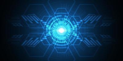 Forma di tecnologia geometrica astratta blu incandescente