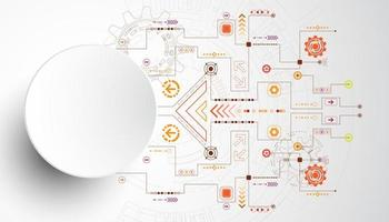 Cerchio di tecnologia 3D con linee di circuito arancione e rosso