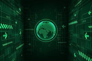 Globo di tecnologia verde incandescente digitale con frecce