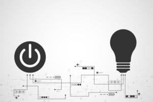 Concetto di tecnologia di connessione pulsante di accensione e lampadina