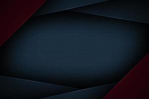 Cornice geometrica a strati astratti blu scuro e rosso vettore