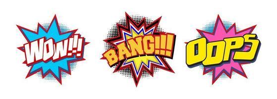Set di effetto sonoro di testo comico vettore