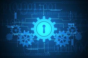 Disegno astratto blu di tecnologia con ingranaggi e serratura