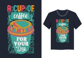 Disegno variopinto della maglietta della tazza di caffè vettore