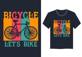 illustrazione di biciclette d'epoca per la progettazione di t-shirt vettore