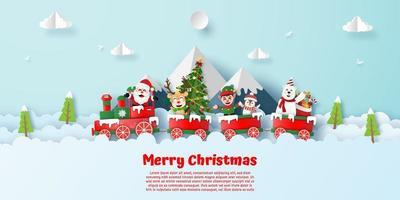 Cartolina di stile origami treno di buon Natale vettore