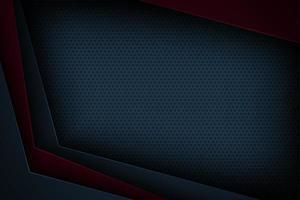 Cornice geometrica in carta tagliata blu scuro e rossa vettore