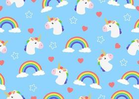 Modello senza cuciture di unicorno di cartone animato con nuvole e arcobaleno