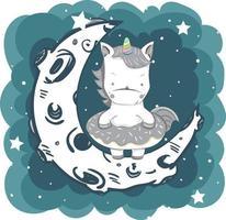 Unicorno carino bambino in piedi sulla luna vettore