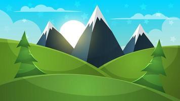Paesaggio dei cartoni animati. Montagna, firr, nuvola, illustrazione del sole