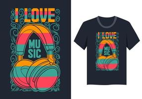 I Love Music T Shirt Design colorato vettore