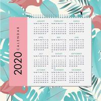 design del calendario tropicale 2020 vettore