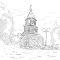 La chiesa è dipinta con inchiostro e penna.