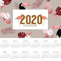 elegante design tropicale del calendario 2020 vettore
