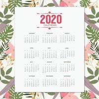2020 design tropicale del calendario