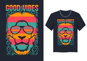 Maglietta dell'illustrazione di buone vibrazioni del fronte del leone vettore